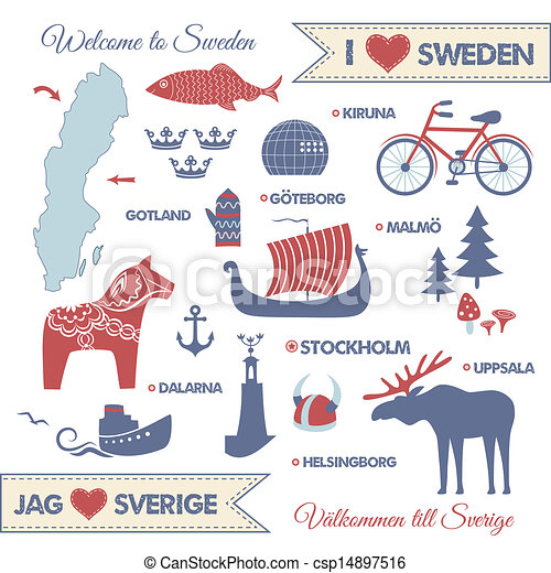Set With Symbols And Map Of Sweden Vector Set With Design Elements