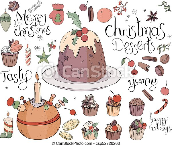 Christmas Sweets.Set With Traditional Christmas Sweets Isolated On White Soft Color Contour Hand Drawn Lettering Phrases Included