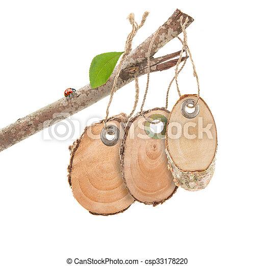 set wooden price tags  - csp33178220