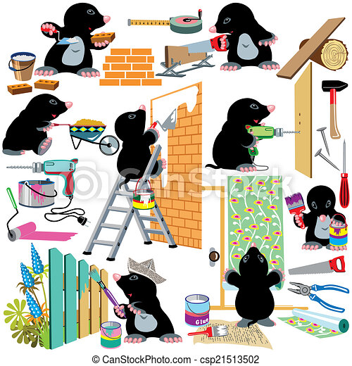 Set working home renovation. Set with cartoon mole working ...