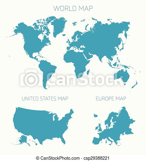 Set world american europe map vector illustration. Set of tree flat ...