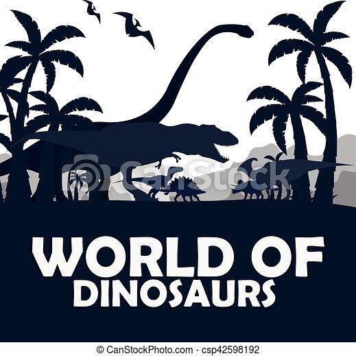 Set World of dinosaurs. Prehistoric world. T-rex, Diplodocus, Velociraptor, Parasaurolophus, Stegosaurus, Triceratops. Cretaceous period. Jurassic period. - csp42598192