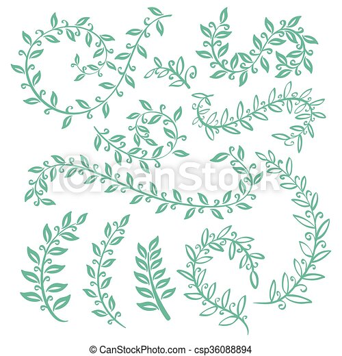 Set wreaths and laurel. hand painted green branches, leaves, leaf ...