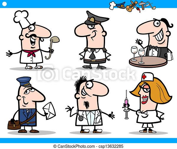 set, zakenlieden, karakters, spotprent - csp13632285