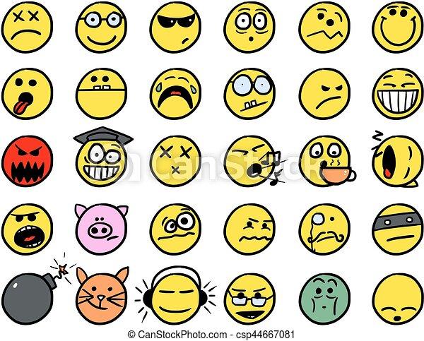 Set02 couleur smiley jaune main vecteur dessins ic ne set02 ic nes couleur smiley - Image de smiley a imprimer ...