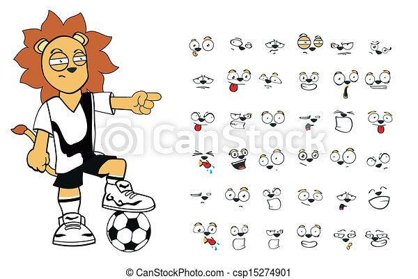 Set5 Lowe Fussball Karikatur Kind