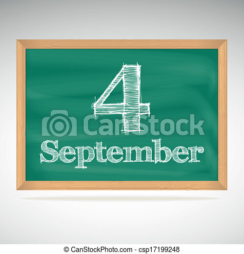 setembro, inscrição, 4, giz, quadro-negro - csp17199248