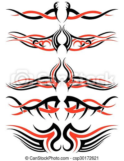 Setof Tribal Tattoos Set Of Tribal Indigenous Tattoos In Black And