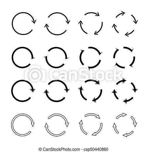 Sets of black circle arrows. Vector Icons - csp50440860