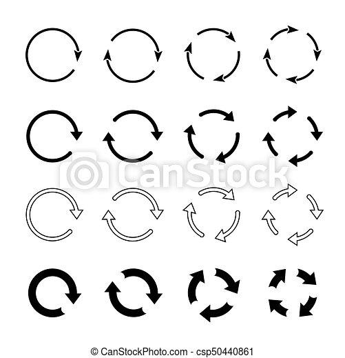 Sets of black circle arrows. Vector Icons - csp50440861