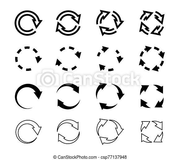 Sets of black circle arrows. Vector Icons - csp77137948
