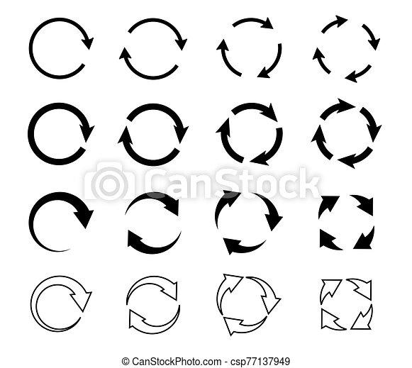 Sets of black circle arrows. Vector Icons - csp77137949