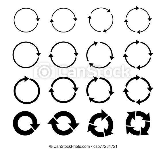 Sets of black circle arrows. Vector Icons. - csp77284721