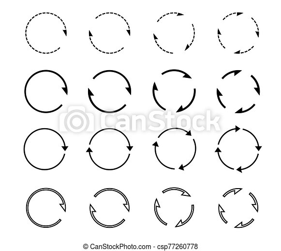 Sets of black circle arrows. Vector Icons. - csp77260778