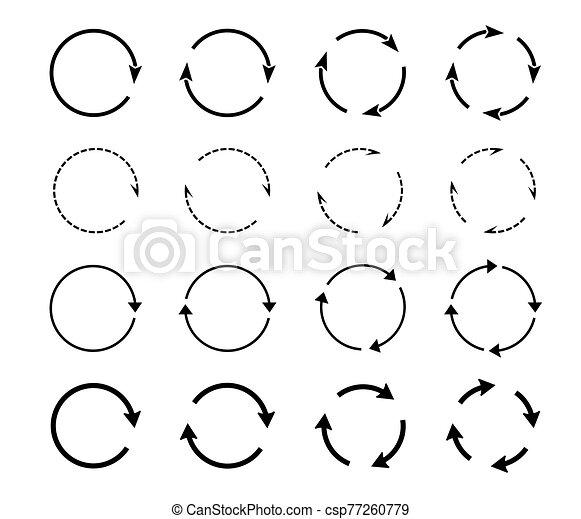 Sets of black circle arrows. Vector Icons. - csp77260779