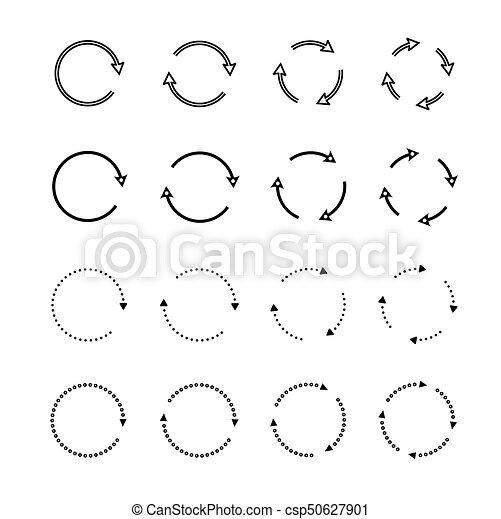 Sets of black circle arrows. Vector Icons - csp50627901