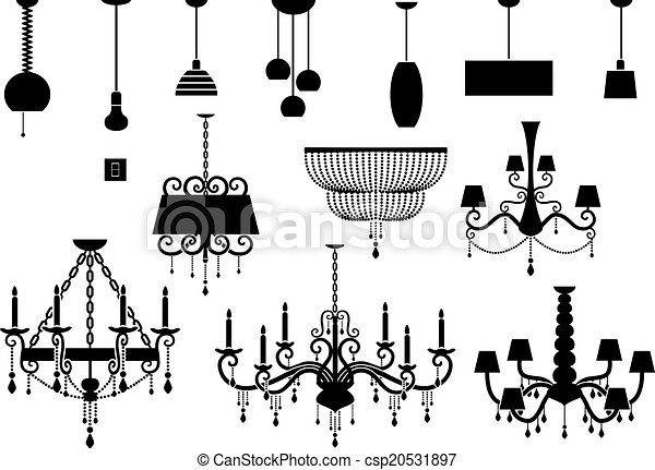 Sets of silhouette chandelier and lamp vector illustration sets of silhouette chandelier and lamp csp20531897 aloadofball Gallery