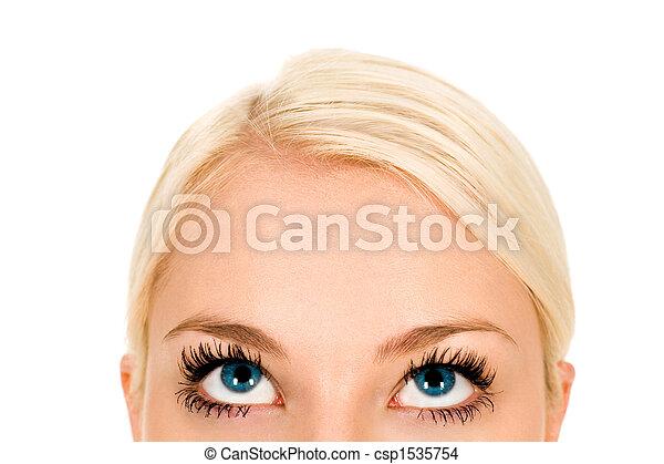 sett upp, kvinna, närbild - csp1535754