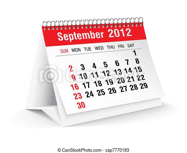settembre, calendario, 2012, scrivania - csp7770183
