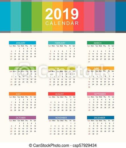 Calendario Settimane Anno 2019.Settimana Disposizione Semplice Inizi Sunday Anno Calendario 2019