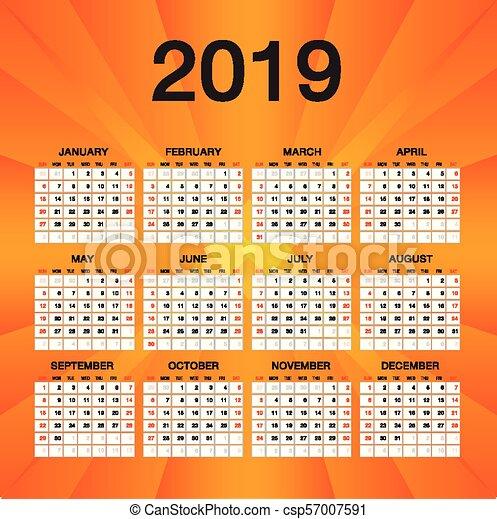 Calendario Settimane Anno 2019.Settimana Semplice Inizi Anno Aviatore 2019 Sagoma Domenica Arancia Disegno Calendario