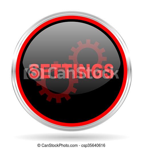 Settings Black And Red Metallic Modern Web Design Glossy Circle Icon