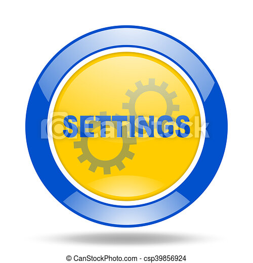 settings blue and yellow web glossy round icon - csp39856924
