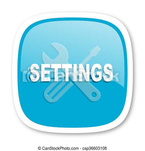 settings blue glossy web icon - csp36603108