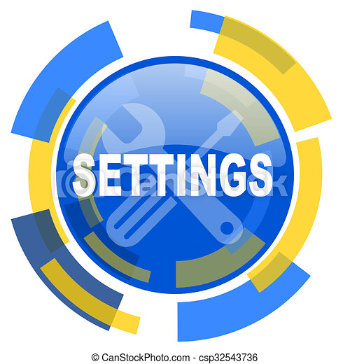settings blue yellow glossy web icon - csp32543736