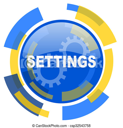 settings blue yellow glossy web icon - csp32543758
