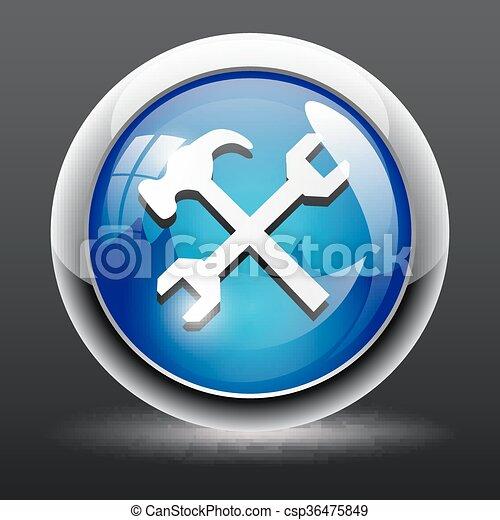 Settings glossy round icon - csp36475849