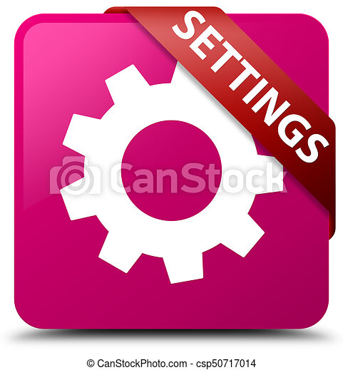 Settings pink square button red ribbon in corner - csp50717014