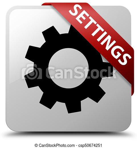 Settings white square button red ribbon in corner - csp50674251