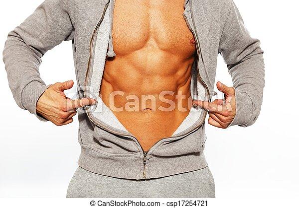 seu, abdominal, mostrando, cinzento, músculos, hoodie, homem, bonito - csp17254721