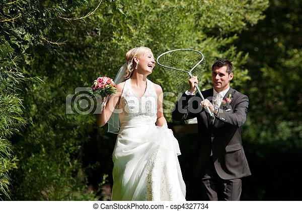seu, noivo, -, noiva, pegando, casório, rede, mergulho - csp4327734