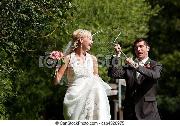 seu, noivo, -, noiva, pegando, casório, rede, mergulho - csp4326975
