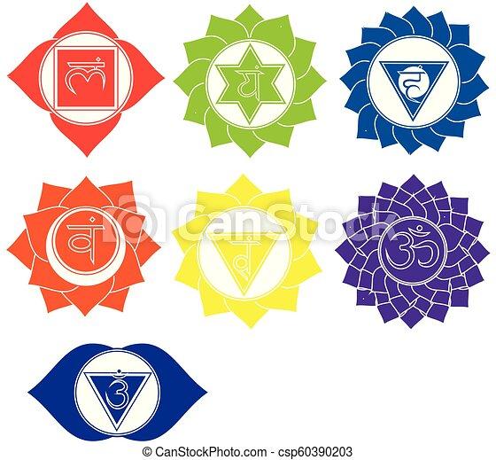 Seven Chakras Icons Kundalini Yoga Symbols Vector Set Of Spiritual
