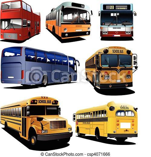 Seven city buses coach school bus vector illustration for Clipart bus