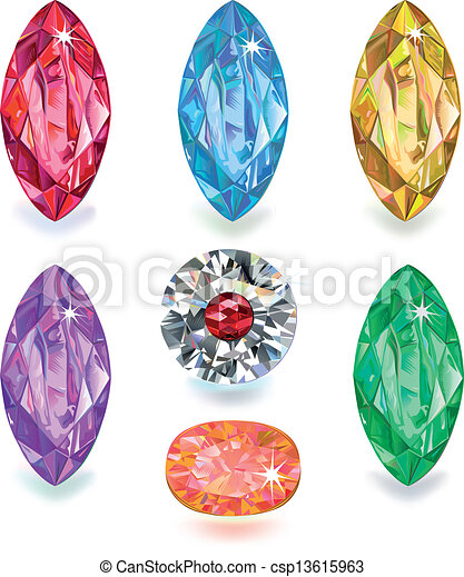 Seven colored gems - csp13615963
