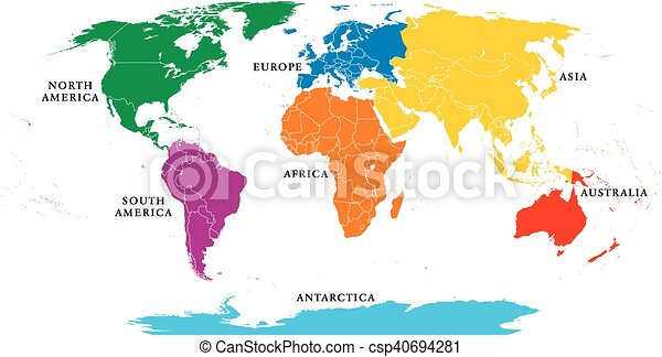 Seven continents map with borders - csp40694281