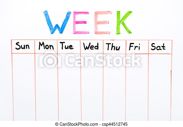 Seven Days Of The Week Writing On White Board   Csp44512745