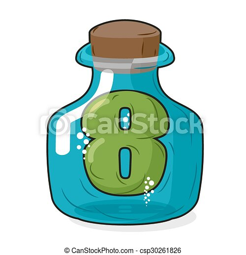 Seven in Bank for chemical research. Figure 7 magic bottle. Laboratory studies and experiments on number 7. Vector illustration - csp30261826