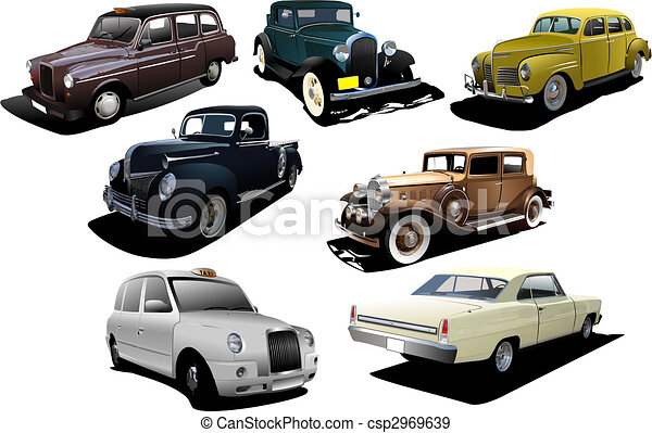 Seven old rarity cars. Vector illustration - csp2969639