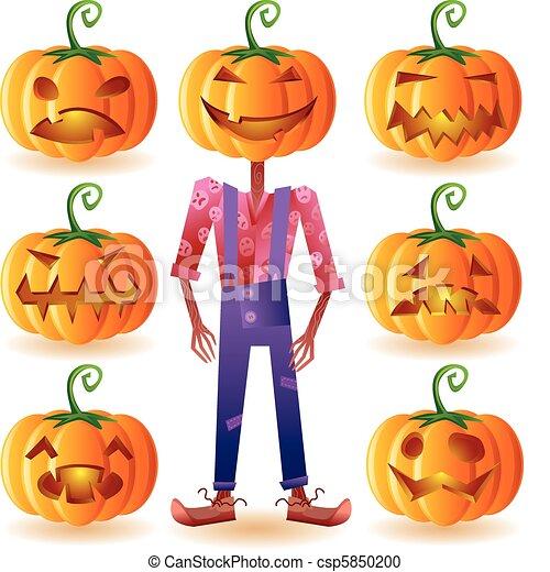Seven pumpkins and one scarecrow - csp5850200