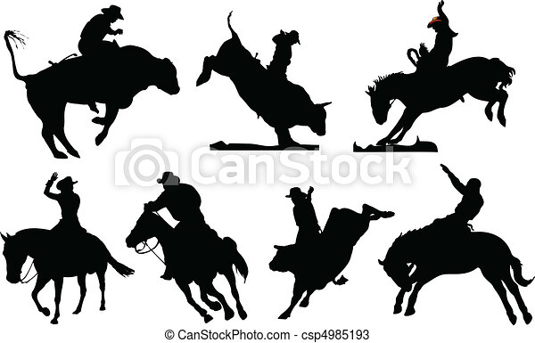seven rodeo silhouettes black and white vector illustration rh canstockphoto com rodeo cowboy clipart rodeo clip art images free