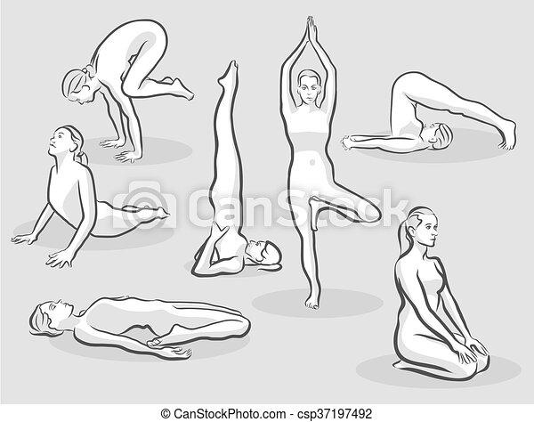 seven various halftone yoga poses free hand drawn vector