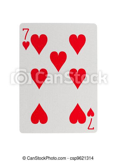 Vieja carta de juego (siete) - csp9621314