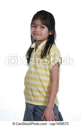 Seven year old girl standing - csp1409573