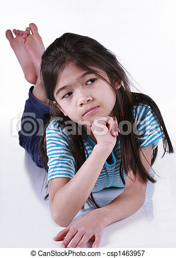 Seven year old girl thinking - csp1463957