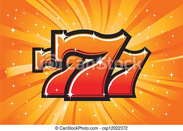 sevens, jackpot, glücklich, dreifach - csp12022372